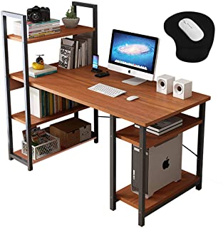 Computer Table Computer Desk Workstation Table Laptop Table with Book Storage Shelf Computer Host Stand and Wrist Mouse Pad for Office Home Work Study Game 120x60x71cm