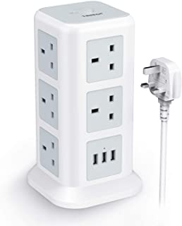 Extension Cord Power Strip Socket Tower - TESSAN Extension Cable with 3 USB Ports - 11 Way Board 13A Overload Protection Outlets Lead 2M Electric Multi Plug Switched for Home