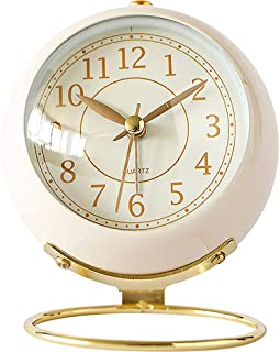 Alarm Clock Bell Desktop Clock Analog Cute Non-Ticking Silent Volume Adjustable Battery Powered for Home Bedroom Travel Office Gift Decoration Handheld Size