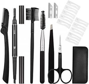 Xinzistar Eyebrow Grooming Kit Stainless Steel Eyebrow Scissors Utility Tools Professional Eye Brow Grooming Set Facial Eyebrow Brush Scissors Tweezers Storage Bag