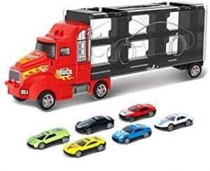 Toy Truck Transport Car Carrier Toy for Boys and Girls age 3-10 yrs old - Hauler Truck Includes 6 Toy Cars and Accessories - Ideal Gift For Kids