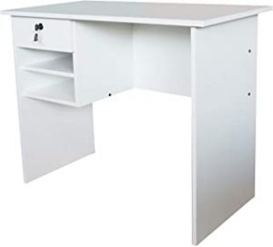 Mahmayi MP1-9045 Solama Office Desk with Paper Rack - Premium White
