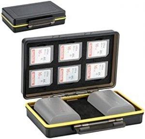 SD Card Holder & Camera Battery Case 2in1 Storage Box for 6 SD SDHC SDXC Memory Cards + 2 Canon LP-E6 LP-E6N Batteries on EOS R 5D Mark IV III II 5DM4 5DM3 5DM2 5Ds 5DsR 6D 6DM2 7D 7DM2 80D 70D 60D