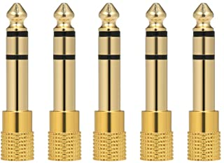 5PCS audio Jack adapter 6.35mm Male 3.5mm Female Stereo Jack Convertor Plug for Microphone Headphone amplifier