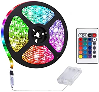 Gluckluz LED Light Strip Battery Operated 5M RGB Lighting Strip Decoration Waterproof Lights for Home Bedroom Indoor Outdoor Party (Color Changing)