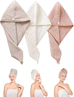 3 Pack Hair Towels Set Hair Wrap Drying Towels Super Water Absorbent Microfiber Hair Towel Turban with Button for Women Girl (Beige & Pink & Khaki)