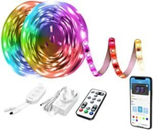 Gluckluz LED Light Strip Smart WiFi 10M Rainbow Decoration Lighting Compatible with Alexa and Google Home for Bedroom Kitchen Mirror Hotel TV (Multi-Color)