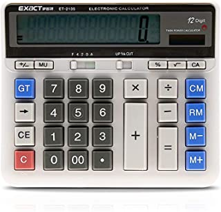 GoolRC Large Computer Electronic Calculator Counter Solar & Battery Power 12 Digit Display Multi-functional Big Button for Business Office School Calculating