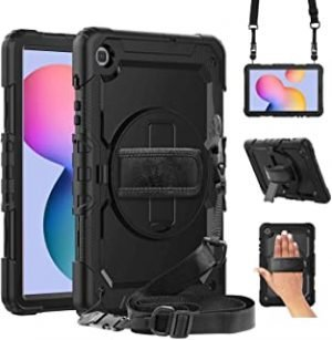 Samsung Galaxy Tab S6 Lite 10.4 Case 2020 with Screen Protector for Kids | Herize Rugged SM-P610/P615 Tablet Case with S Pen Holder | Heavy Duty Protective Book Cover w/Stand & Strap | Black
