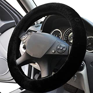 Black Sheepskin Steering Wheel Cover- Zone Tech Plush Stretch On Vehicle Faux Sheepskin Steering Wheel Cover Classic Black Car Wheel Protector