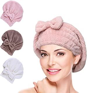 3 Pack Microfiber Hair Towel Cap Turban Wrap Quick Drying Absorbent Towel Cap Dryer Dry Hair Hat Wrapped Bath Cap Thicken for Women and Girls (Coffee & Beige & Pink)