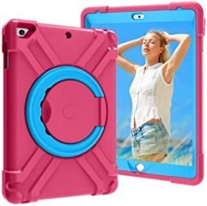 Case for iPad 9.7 Case for Kids - Lightweight Shockproof Handle Magic Ring 360 Rotating Multi -Full-Body Rugged Protective Cover for 9.7 inch iPad 5/6