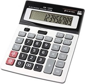 HIHUHEN Large Computer Electronic Calculator Counter Solar & Battery Power 12 Digit Display Multi-Functional Big Button for Business Office School Calculating