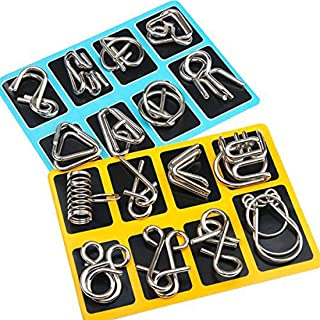 Mumoo Bear 16 Pieces IQ Test Mind Game Toys IQ Toys Brain Teaser Metal Wire Puzzles Magic Trick Toy Metal IQ Puzzle for Kids and Adults