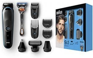 Braun 9-in-1 All-in-One Trimmer MGK5080 Beard Trimmer and Hair Clipper Body Groomer Ear and Nose Hair Trimmer Detail Trimmer Attachment Black/Blue