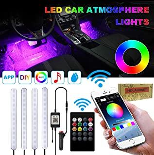 Holahoney Interior Car LED Strip Light Upgrade Waterproof 4pcs 48 LED Bluetooth APP Controller Lighting Kits