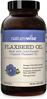NatureWise Organic Flaxseed Oil Max 720mg ALA   Highest Potency Flax Oil Omega 3 for Cardiovascular