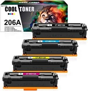 Cool Toner Compatible Toner Cartridge Replacement for HP 206A 206X W2110A W2111A W2112A W2113A Color Laserjet Pro M255dw MFP M283fdw M283cdw M283 M255 Printer Ink (Black Cyan Yellow Magenta