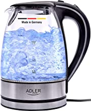 Germany Glass Kettle 2200W Electric tea water boiler 1.7 L BPA Free with Blue LED Indicator Light- safety empty shut off - nano technology fillter for home use and hotels & coffee shops
