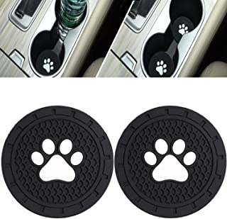 DELFINO 2 Packs Paw Car Coasters Car Cup Holder Coasters Silicone Anti Slip Dog Paw Coaster Mat Accessories for Most Cars