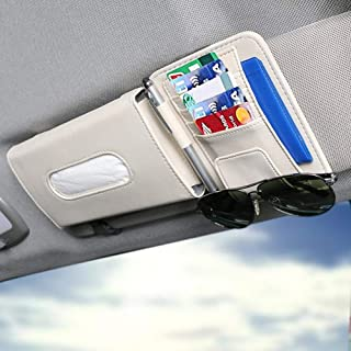 ZeeSquare Car Accessories Holder Portable Tissue Organizer Pen Storage Box Napkin Dispenser Bag Multi Use Beige Decoration Tidying Interior Leather