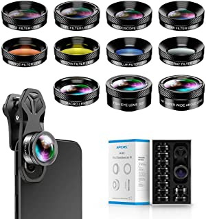 Apexel 11 in 1 Phone Camera Lens Kit - Wide Angle Lens & Macro Lens+Fisheye Lens/ND32/kaleidoscope/CPL/Color Lens Compatible with iPhone Samsung Sony and Most of Smartphone