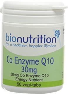 Bio Nutrition Co Enzyme Q10 30mg - Antioxidant and Energy nutrient - 60 vegi-tabs