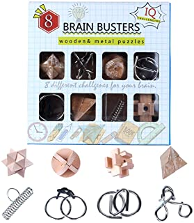 ElaTany Brain Teasers Metal Wire and Wooden Puzzles 3D Coil Cast Wire Chain and Durable Wood Educational Toys Set (Pack of 8) with Gift Box for Kids Family