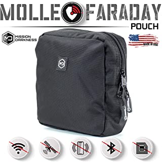 Mission Darkness MOLLE Faraday Pouch. Military-Grade Bag Attaches to Any MOLLE Webbing System. RF Signal Blocking + Anti-Hacking/Tracking/Spying + Data Privacy for Phones