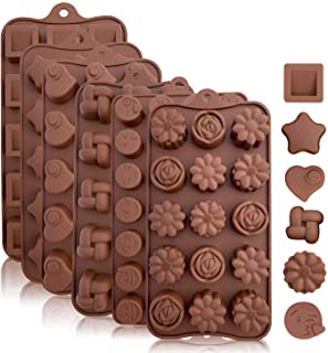 KITCHENATICS Silicone Chocolate and Candy Molds (Brown (6-Pack))