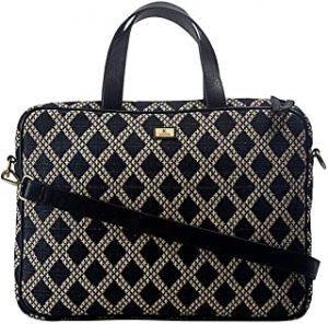 K London Eco-Friendly Black & Beige Jacquard & Vegan Leather Handmade Laptop Bag Cross Over Shoulder Messenger Bag Office Bag (2101_blk_bg)…