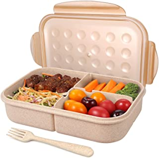 Unipurl Lunch Box for Adults Lunch Containers for Kids 3 Compartment Back to schoolBento Box Food Containers Leak-Proof Wheat fiber material (Includes Flatware) -Champagne