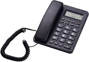 Black Corded Telephone Wired Desk Landline Phone with LCD Display Caller ID/Call Waiting Speakerphone Calculator Function Ringer Melodies Adjustment for Hotel Office Business Home