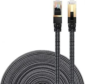 DanYee Ethernet Cable Cat 7 Flat High Speed Nylon Lan Network Patch Cable Gold Plated Plug STP Wires CAT 7 RJ45 Ethernet Cable 0.5M 1M 2M 3M 5M 8M 10M 15M 20M 30M (5M