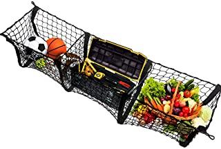Car Trunk Mesh Cargo Net- Zone Tech Three Pocket Net- Elastic Storage Universal Automobile Organizer- Stretchable Mesh Truck Bed Basket