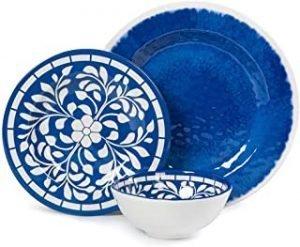 Melamine Dinnerware Set - 12 Pcs Dinner Dishes Set for Outdoor Use