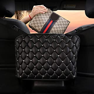Wheel Up Car Net Pocket Handbag Holder Between Seats Leather Bag Car for Organizer Front Seat for Holding Accessories Purse Phone Pouch Tissue Box Small Items Pet Barrier Basket Storage (Crystals)