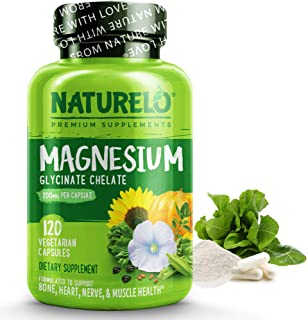 NATURELO Magnesium Glycinate Supplement - 200 mg Natural Glycinate Chelate with Organic Vegetables - Best for Sleep