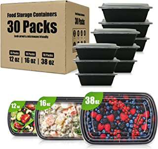 30 Packs of Food Storage Containers – One Compartment   3 Sets of 3 Sizes (12oz