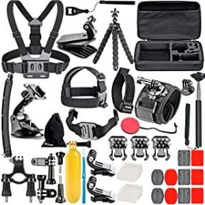 Ozone Action Camera Accessories 50 in 1 Travel Kit For GoPro Hero 8 Black Hero 8 Max Hero 5 Hero 4 3 GoPro Session 2018 DJI Yi SJCAM Sports Action Camera (All in 1 Accessory for Action Camera)