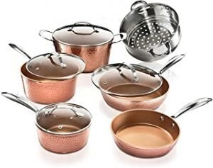 Gotham Steel Hammered Collection – 10 Piece Premium Cookware Set with Triple Coated Nonstick Copper Surface