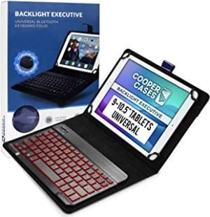 Cooper Backlight Executive Keyboard Case for 9-10.5 inch tablets | Universal Fit | 2-in-1 Bluetooth Keyboard & Leather Folio