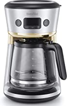 Breville Mostra Easy Measure Filter Coffee Machine | 12 Cup Programmable Coffee Maker | 1.8L Jug | Built-In Water Filter | Freshness Indicator | Delay Timer | Silver & Gold | VCF115