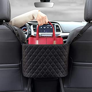 Wheel Up Car Net Pocket Handbag Holder Between Seats Leather Bag Car for Organizer Front Seat for Holding Accessories Purse Phone Pouch Tissue Box Small Items Pet Barrier Basket Storage (Black)