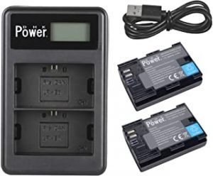 DMK Power LP-E6 LP E6N Battery Charger Rechargeable Battery Pack (2-Pack