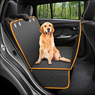 Dog Back-Seat Cover Protector Waterproof Scratchproof Nonslip Hammock for Dogs Backseat Protection Against Dirt and Pet Fur Durable Pets Seat Covers for All Cars Trucks SUVs (BlackOrange)