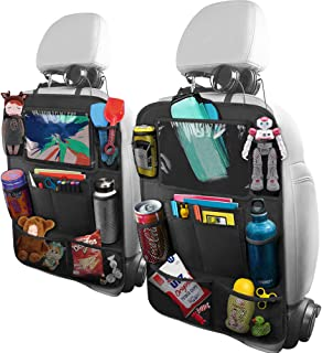 BELKA Car Backseat Organizer with 10 Inch Tablet Holder + 9 Storage Pockets Car Back Seat Protectors Kick Mats for Kids Toy Bottle Drink Universal Travel Accessories for Kid and Toddlers (2 Pack)