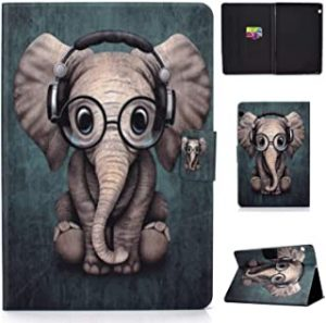 Huawei MediaPad T5 10 10.1 inch 2018 Tablet Case - Cute Patterns Slim Lightweight Case Protective PU Leather with Card Slots for Huawei Mediapad T5 10 10.1 Inch Tablet 2018-elephant