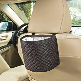SANDY ROAD Premium Car Trash Can Car Accessories with 100% Waterproof interior and Car Trash bag with Adjustable strap