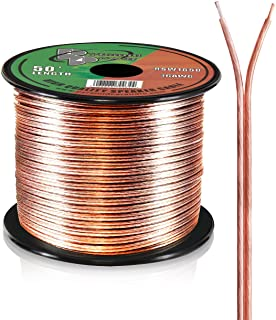 50ft 16 Gauge Speaker Wire - Copper Cable in Spool for Connecting Audio Stereo to Amplifier